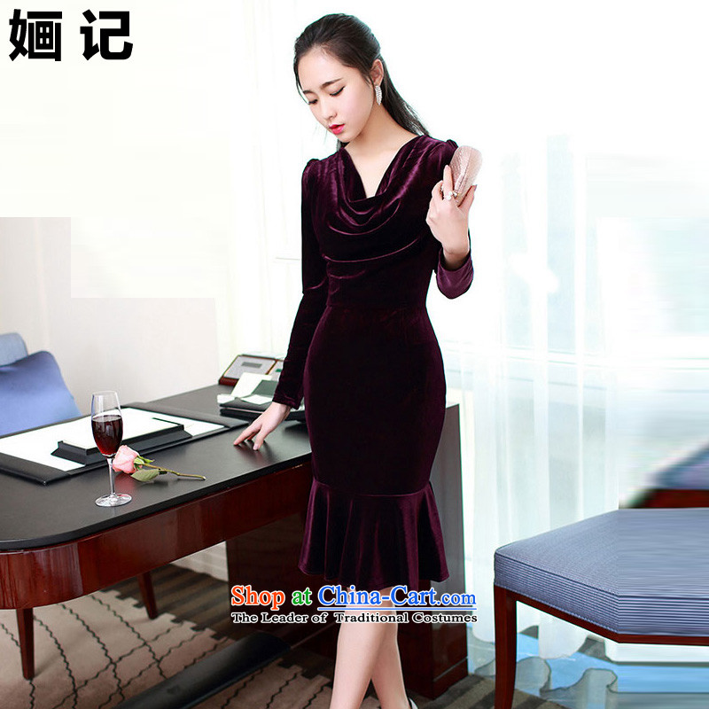 Note 2015 autumn and winter 婳 load new Korean female aristocratic temperament elegant beauty heap heap collar billowy flounces sexy skirt long skirt deep purple?S