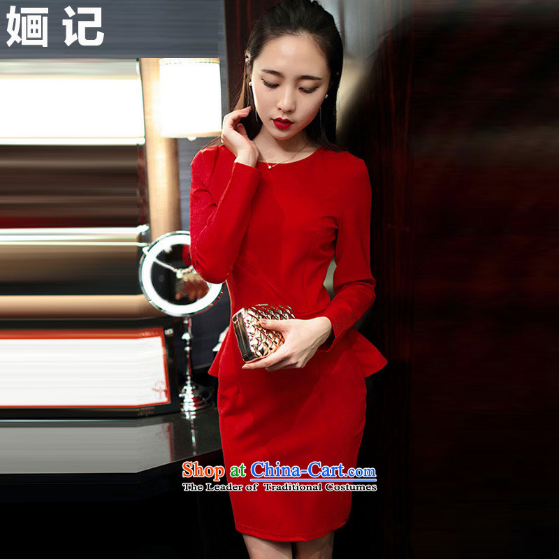 Note 2015 autumn and winter 婳 load new long-sleeved elegant forming the skirt thick banquet Sau San dress Korean married red sexy dresses RED?M