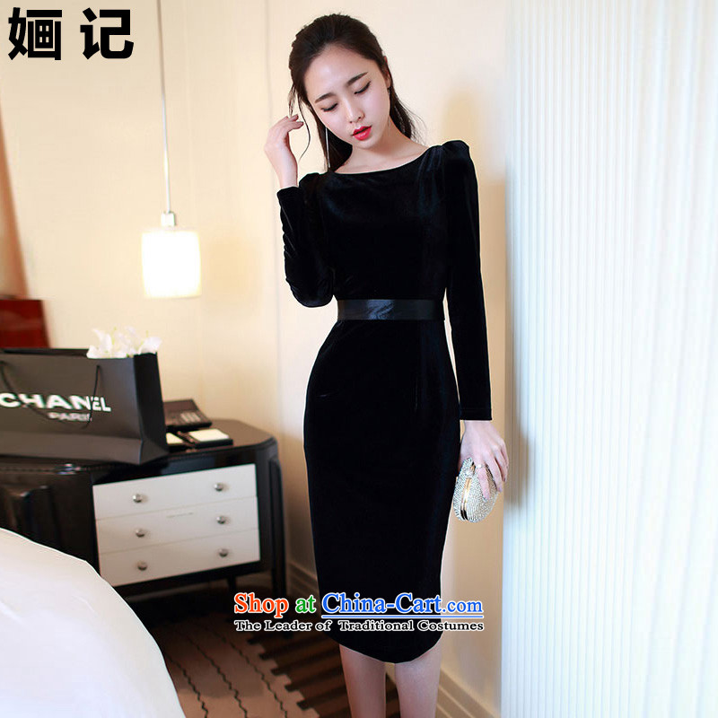 Note 2015 autumn and winter 婳 new for women forming the long-sleeved scouring pads and pockets of high skirt sexy dresses Female dress long skirt black?M