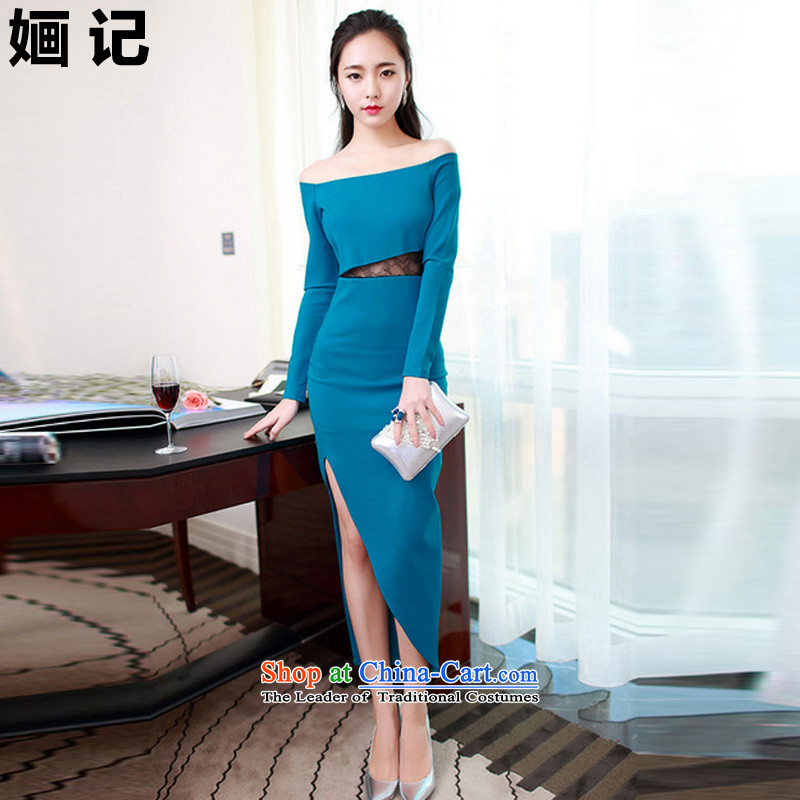 Note 2015 autumn and winter 婳 load new aristocratic elegant fluoroscopy lace package and sexy dresses dress long skirt Blue?M