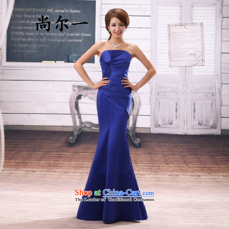 Naoji marriages bows services a crowsfoot wedding dress evening dresses bridesmaid wedding dresses 8261 long blue XXL