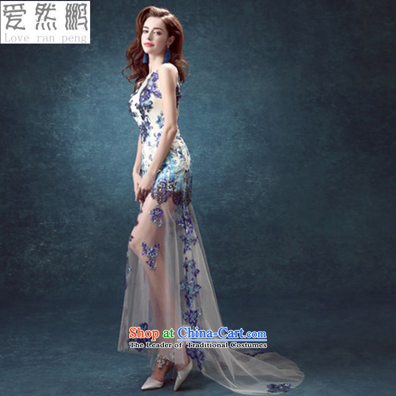 Porcelain blue back bride services Annual Dinner of the bows before the performance after short long wedding dresses 2419 XXL needs of small to return does not support