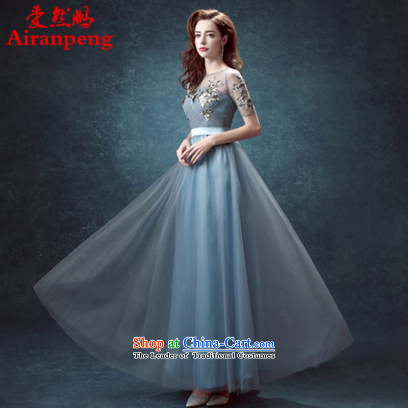 Blue Back Long) Marriages bows Annual Dinner service performance wedding dresses 2015 new 24.17 XL