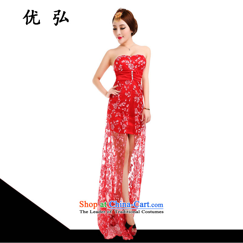 Optimize Hong-dress and sexy new 2015 anointed chest dresses marriages evening dresses banquet moderator long female fx5998 red?XL