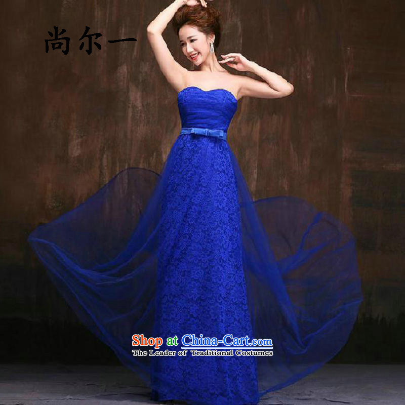 Yet, a new paragraph marriage bridesmaid services moderator banquet and chest evening dresses long graphics thin wedding dresses No. 8264 Blue?L