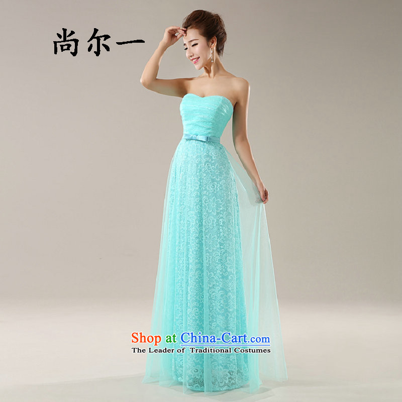 Yet, a new paragraph marriages bows to dress long Sau San lace evening banquet 8265 light blue?XS