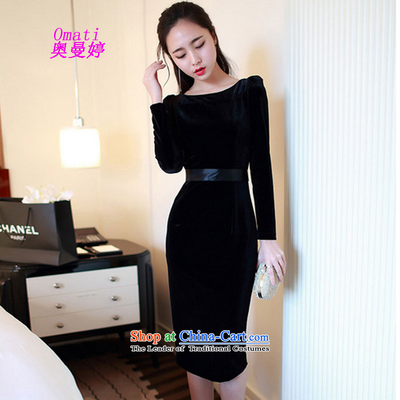 Aumain Ting autumn 2015 new dresses with women forming the long-sleeved gray velour noble sexy high pockets and dresses evening dresses long skirt black?L