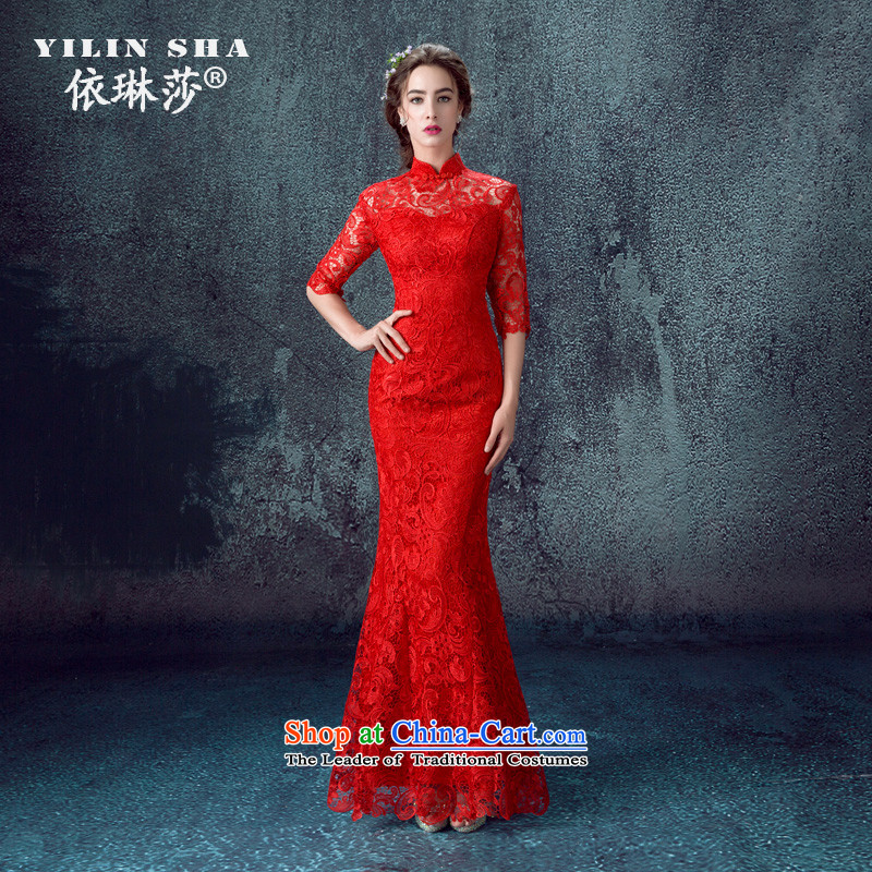 2015 Autumn and winter new red crowsfoot long-sleeved gown marriages bows to lace retro cheongsam dress red?S
