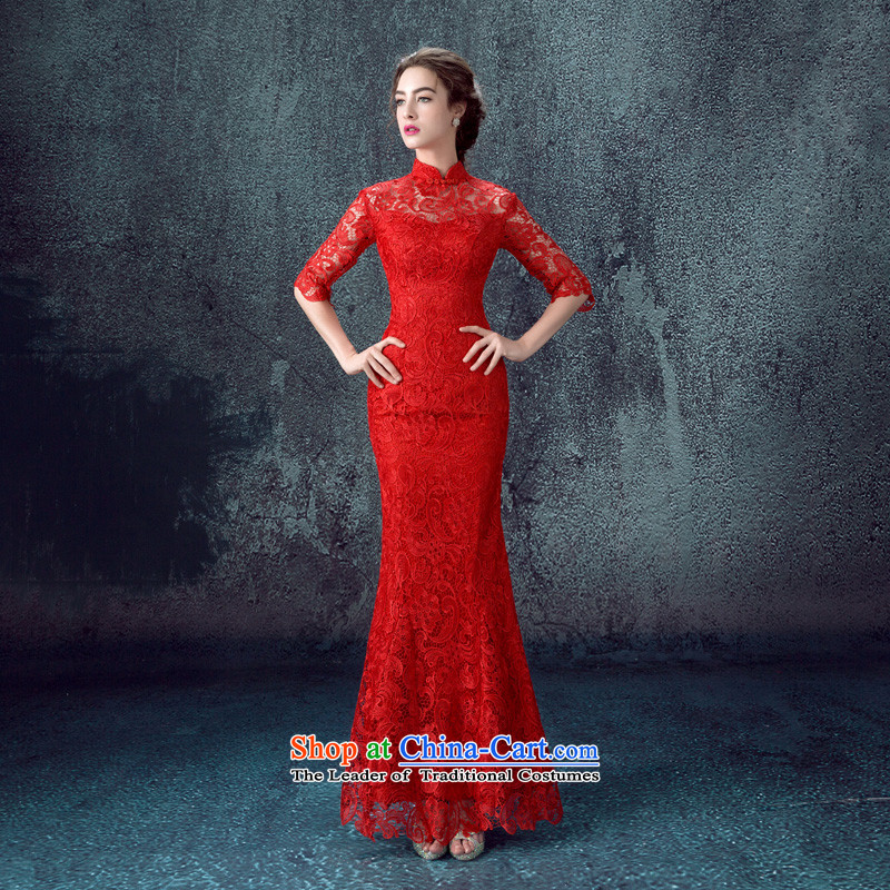 2015 Autumn and winter new red crowsfoot long-sleeved gown marriages bows to lace retro cheongsam dressaccording to Lin sha red s , , , shopping on the Internet