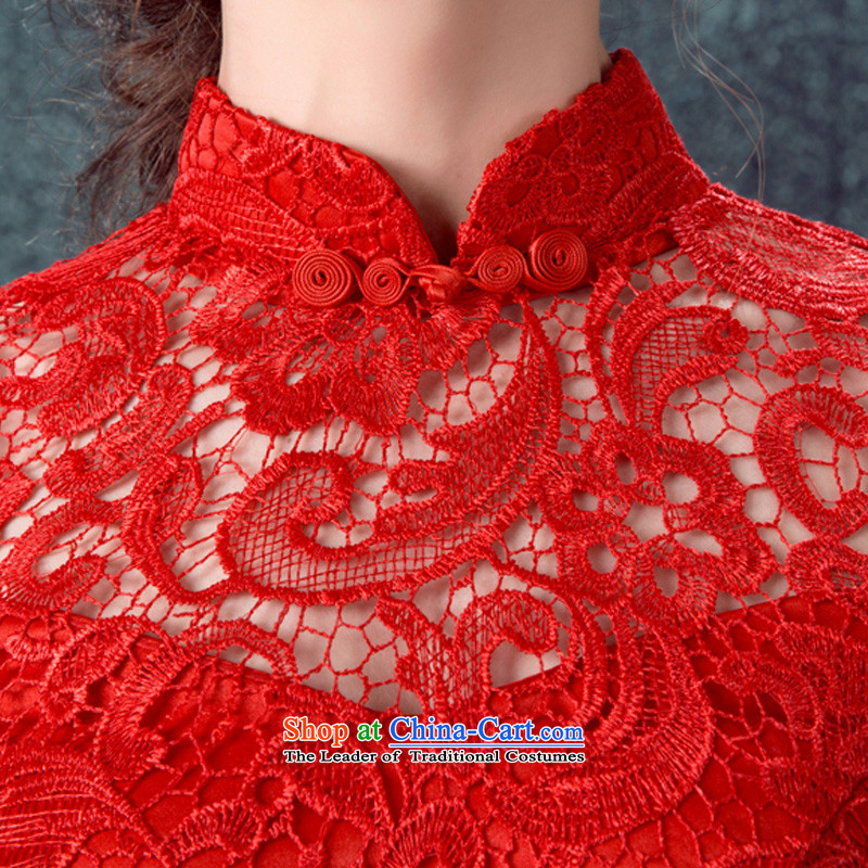 2015 Autumn and winter new red crowsfoot long-sleeved gown marriages bows to lace retro cheongsam dress according to Lin sha red s , , , shopping on the Internet