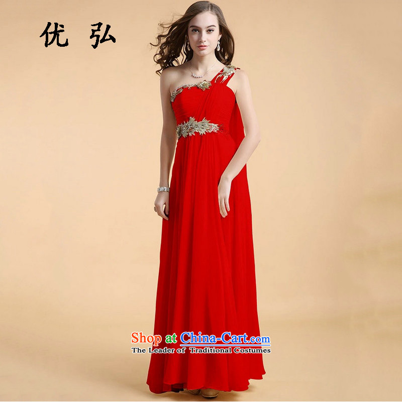 Optimize video temperament aristocratic wind elegant dresses shoulder evening dresses long dinner show the moderator long skirt lg9447 red?xs