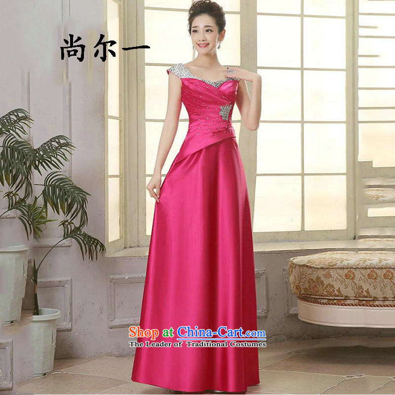 Naoji a marriages bows bridesmaid evening dress banquet moderator dress female marriages long service in 8266 followed the RED�M