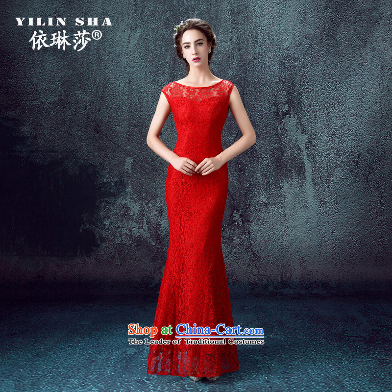 According to Lin Sa 2015, Red bride replacing wedding dress moderator of a field shoulder red lace bows services red?XL