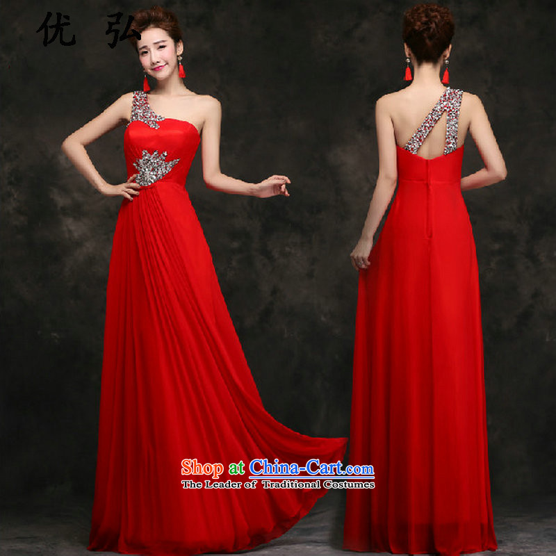 Optimize Hong-evening dresses 2015 new shoulder on chip marriages bows to red long gown lg9772 female red?S