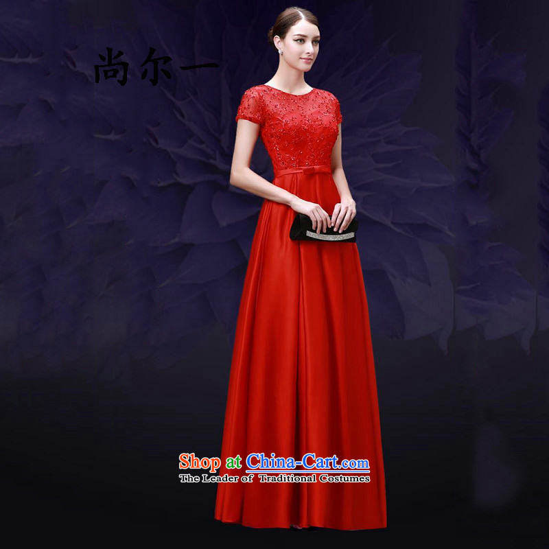 Naoji a marriages bows services qipao new long crowsfoot retro Red Dress Sau San banquet 8268 Red?XXL