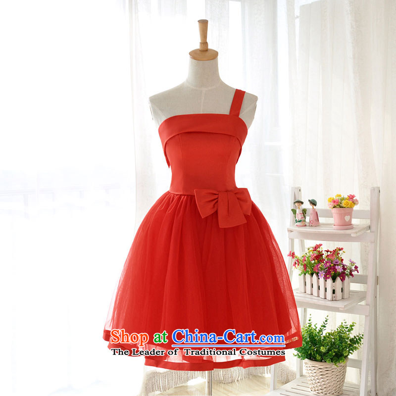 Millennium bride?2015 new Korean Pink Single Twine Bow Knot presided over small shoulder Dress Short, wipe the chest and sisters mission bridesmaid services red