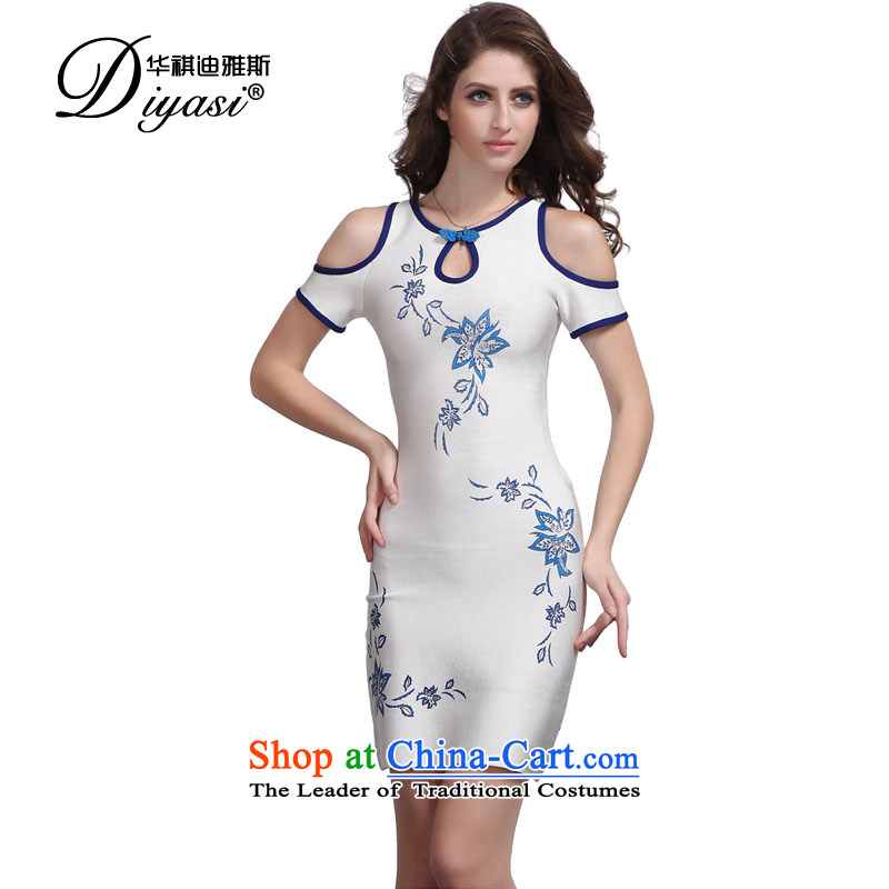 Hua Qi Avandia, original innovation, sexy bare shoulders white bandages skirt temperament of nostalgia for the evening banquet dress short, white?S