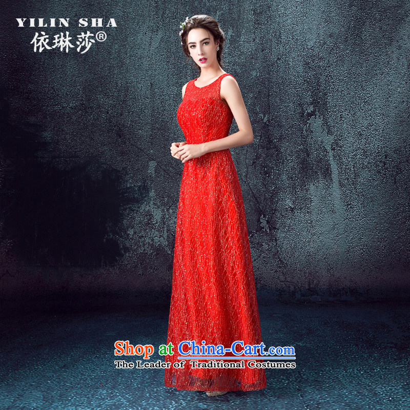 According to Lin Sa 2015 autumn and winter new bride stylish bows services red banquet show will come on-chip crowsfoot evening dresses red?L