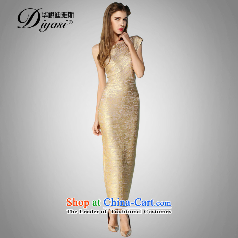 2015 new hot drink service sexy Beveled Shoulder and bandages upscale Sau San package goddess dress dresses ironing fluffy?S