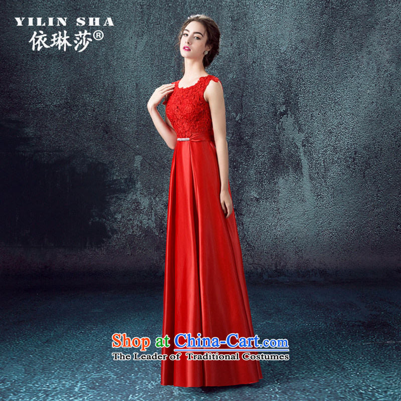 According to Lin Sa 2015 Autumn new marriages bows services evening dresses long shoulders wedding dresses skirts Sau San Red Red XL