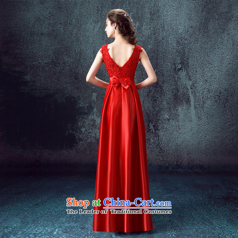 According to Lin Sa 2015 Autumn new marriages bows services evening dresses long shoulders wedding dresses skirts Sau San Red RedXL, according to Lin Sha , , , shopping on the Internet
