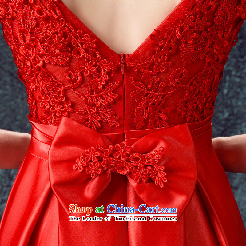 According to Lin Sa 2015 Autumn new marriages bows services evening dresses long shoulders wedding dresses skirts Sau San Red Red XL, according to Lin Sha , , , shopping on the Internet