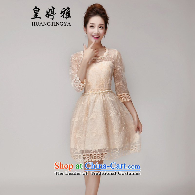 Wong Ting Nga snow spinning summer nail Pearl Princess skirt dresses Sau San champagne color and chest bridesmaid services sister Princess dress with a small establishment of dresses female apricot?L