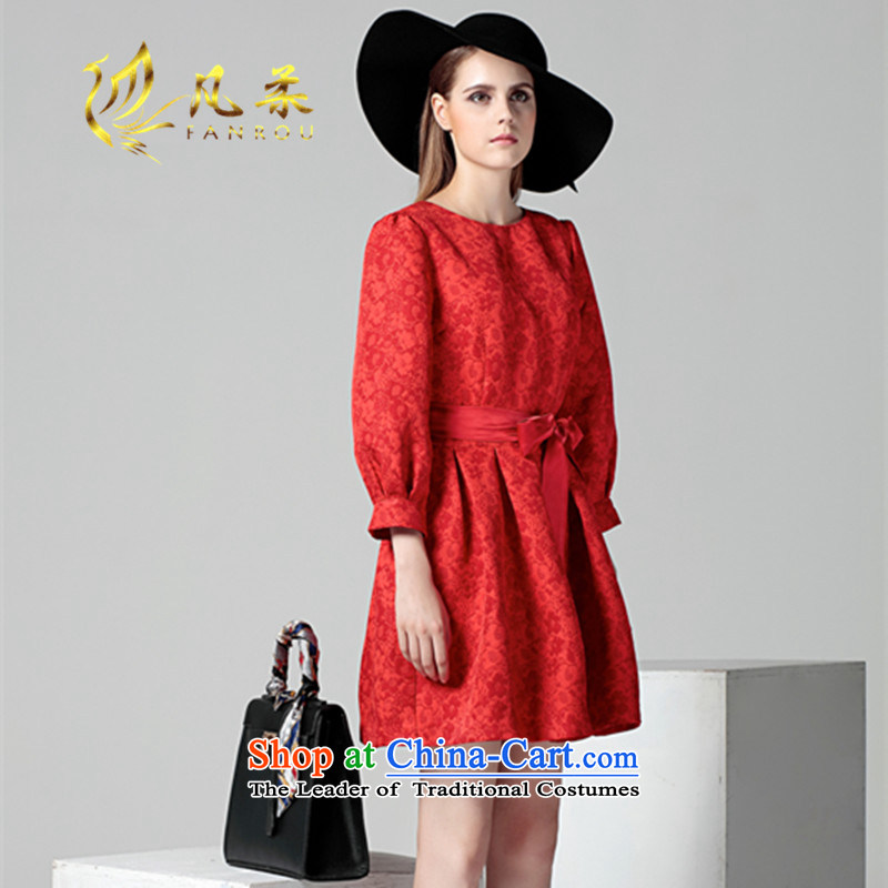 Where Sophie Women 2015 autumn and winter new lady red dress bows to the European site lanterns cuff large dresses RED?M