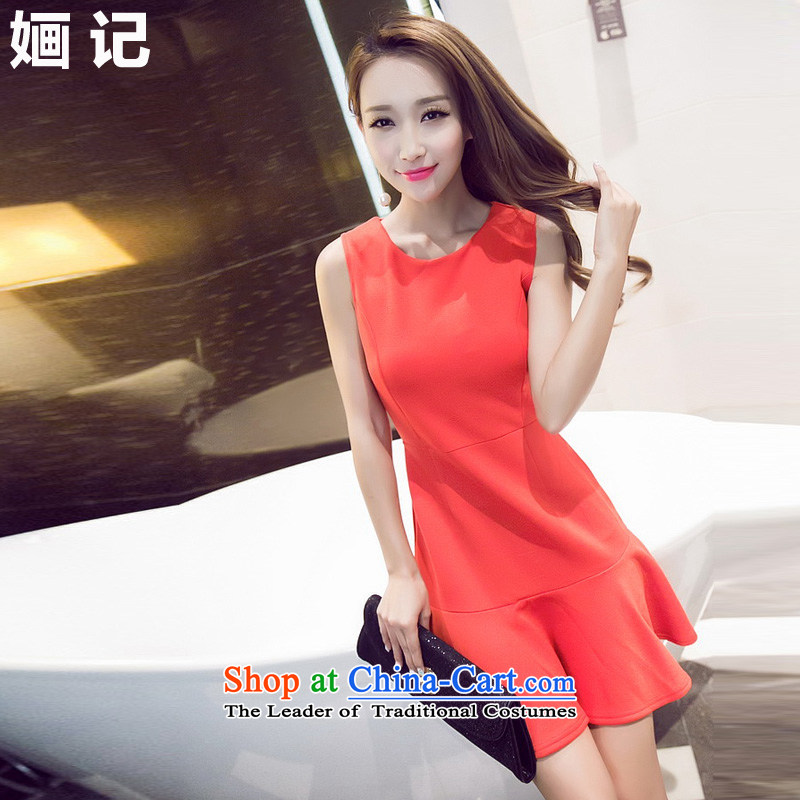 Note 2015 autumn and winter 婳 new western sexy billowy flounces, forming the vest dresses nightclubs and sexy women's dresses evening dresses skirt RED?M