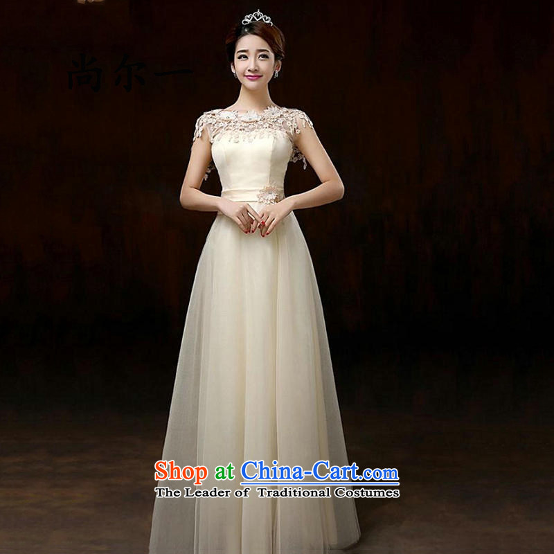 A spring naoji new Korean skirt Fashion bridesmaid mission skirt dress Sau San Video Thin women, 8271 champagne color long length?L
