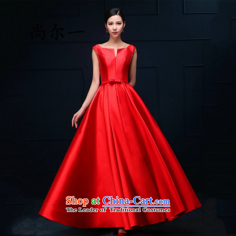Yet, a marriage bridesmaid wedding dress bows services wedding night wear long service 8273 bride red long?M