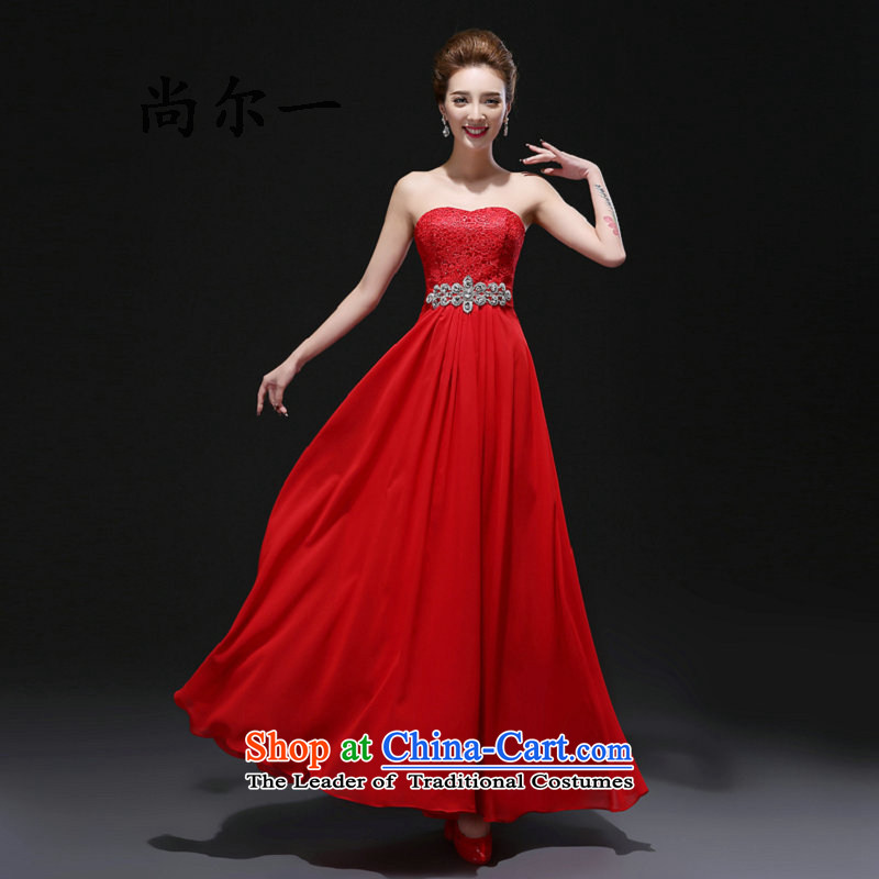 Naoji a new spring bride stylish Long Chest banquet dress wiping the wedding dress red Summer 8275 Red?XS female