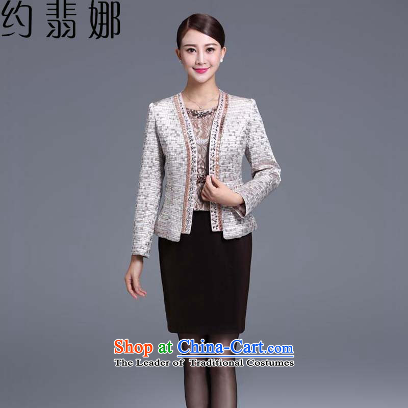 The? 2015 autumn Jadeite Jade about replacing the new Elderly Women's large wedding dresses mother replacing dresses two?L2033 Kit?3 color lattice?XXXL