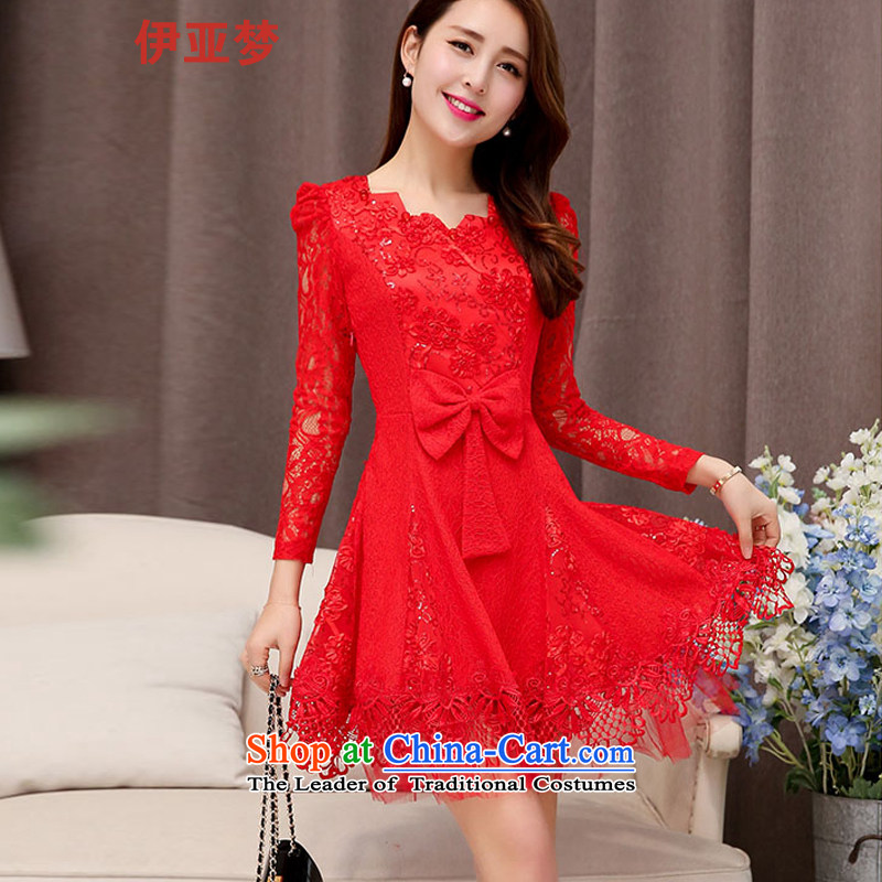 The dream of autumn boxed long-sleeved red dress video thin lace Sau San bridal dresses bows service banquet thin small dress RED?M