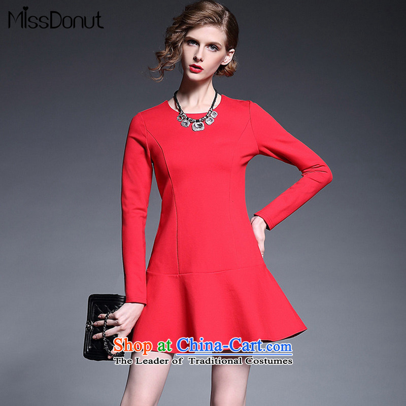 The new European autumn missdonut2015 site temperament Sau San bridesmaid dress red dress long-sleeved crowsfoot skirt red?L