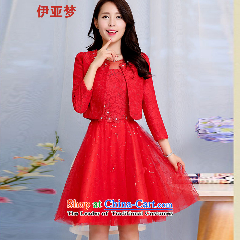 The dream of autumn and winter jackets red dress video thin lace Sau San bows dress bride with two-piece banquet annual dress red L