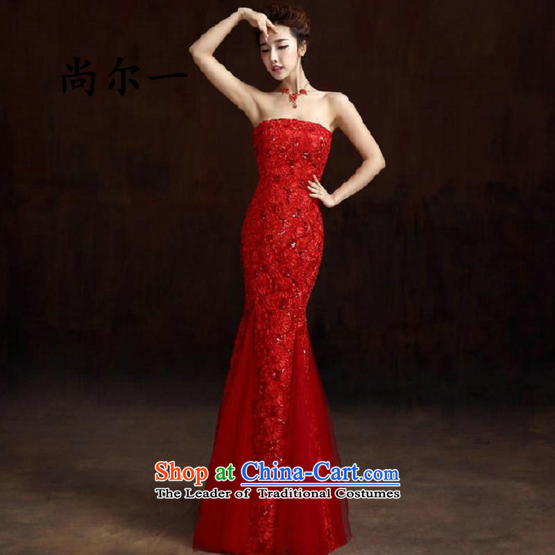 Yet, a new paragraph red lace crowsfoot Sau San long marriages banquet dinner dress skirt 8278 Red?L