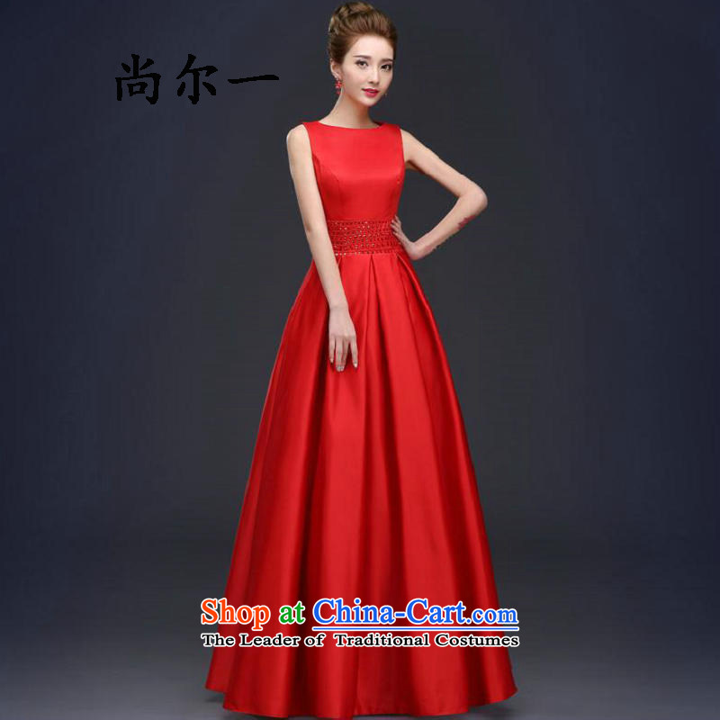 Yet, a new bride replacing wedding dress long word shoulder red lace bows services fall 8279 Red?S