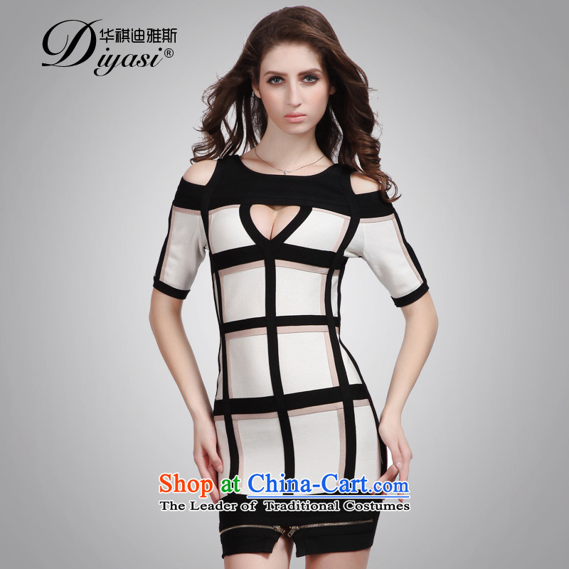 Hua Qi Avandia, spring and summer and sexy bare shoulders and engraving package stylish grid control short of Sau San bandages dresses black and white checkered?L