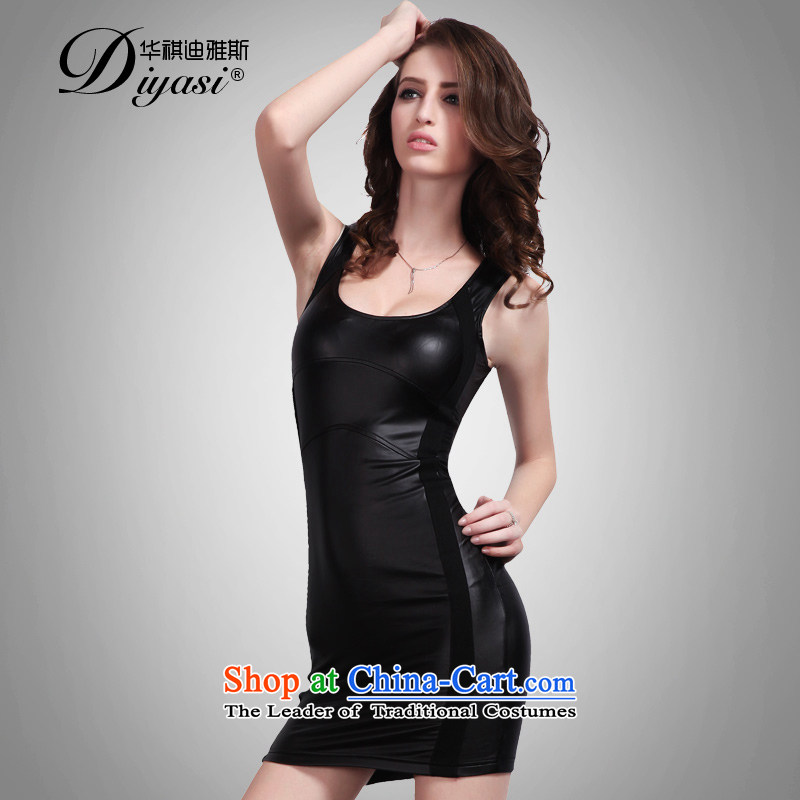 Hua Qi Avandia, Sleek and Sexy Hotel nightclubs women 2015 new graphics package and bandages thin shape the skirt black?XXSTOXL_