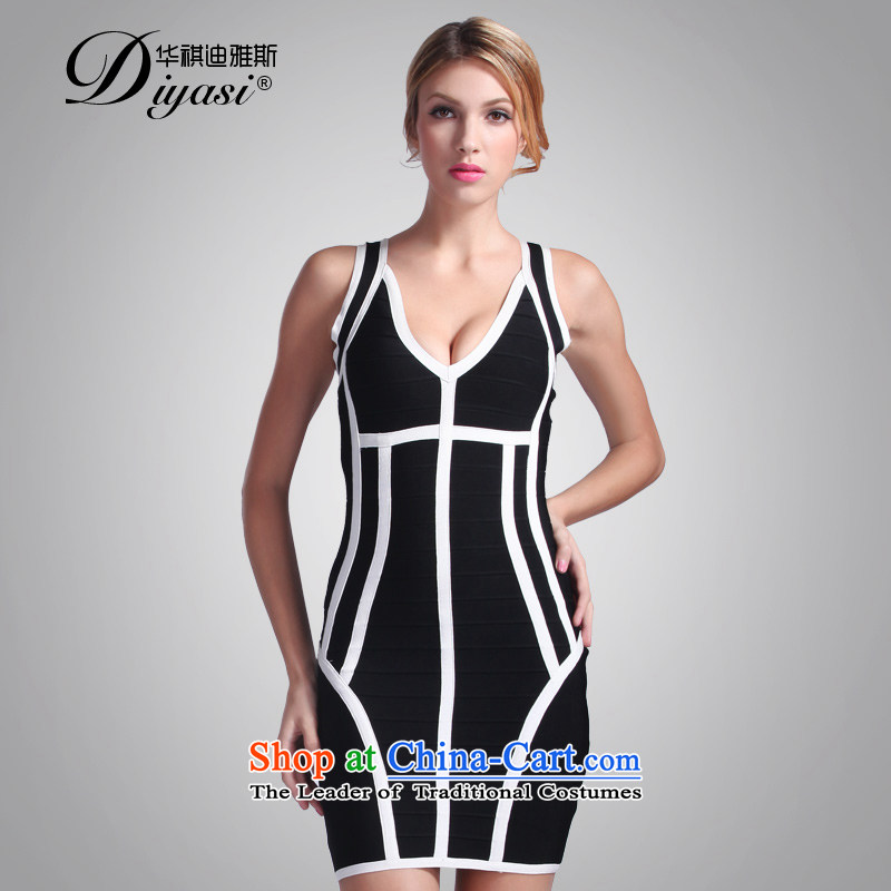 China regards, stylish black-and-white Avandia, stitching strap small dress cosmopolitian graphics annual gathering of thin bandages dresses black?XS