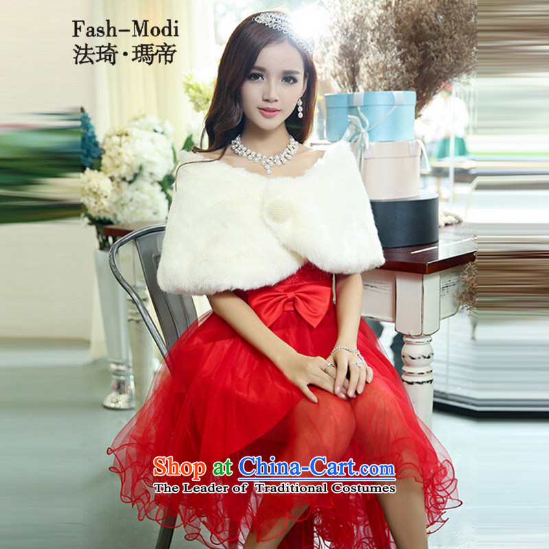 The law of the chest and Princess Qi wedding autumn 2015 new Korean Foutune of video thin bride wedding dress small trailing bon bon skirt bridesmaid bows dress female Red Shawl. With XL.