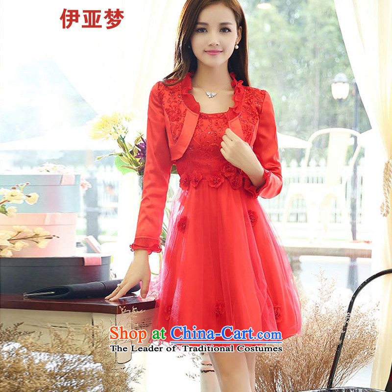 The Dream of the Red Dress the new 2015 bride replacing Sau San lace two kits wedding dress female bows annual service dress red?XL