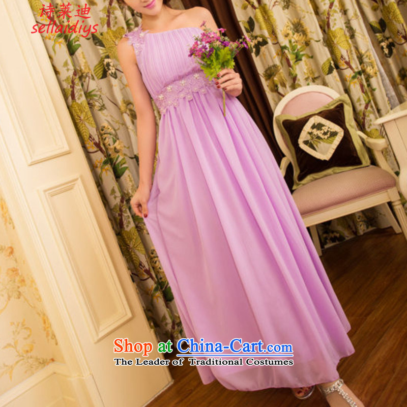 Ms Elsie Leung at the summer 2015 new sweet temperament OL banquet bridesmaid marriage Beveled Shoulder dresses long skirt dress 5815_ female violet left shoulder with invisible shoulder strap M