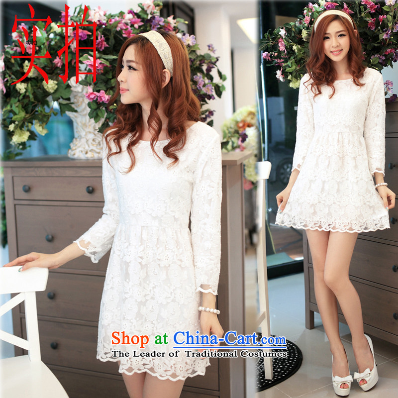 Ms Elsie Leung at the autumn 2015 new boxed lace skirt women engraving lace in Sau San cuff dress dresses White?M
