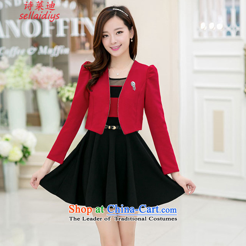 At 2015 Autumn poem with two-piece dresses sweet long-sleeved gown shawl kit small addition Chest Flower belt red jacket with a black skirt L