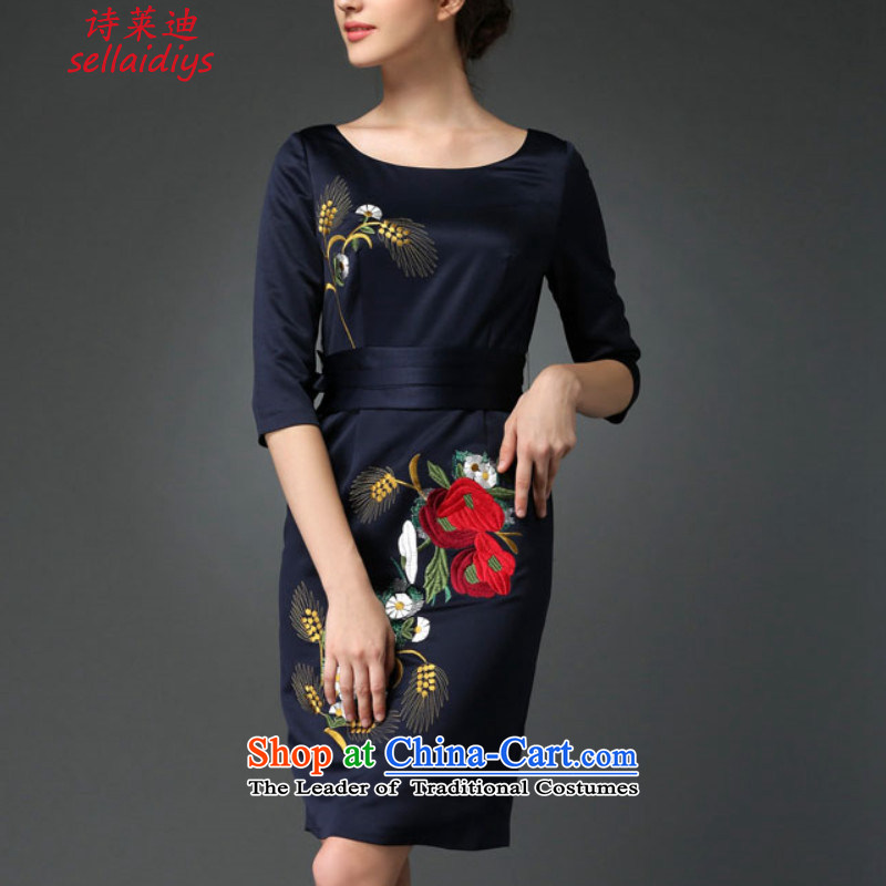 At 2015 Autumn poem new noble dinner dress cheongsam dress and embroidery blue. XXL