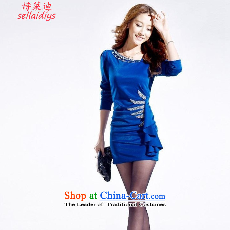 At 2015 Autumn poem pack and nightclubs dresses and sexy Korean commuter OL temperament, forming the skirt and skinny dress blue?XXXL graphics