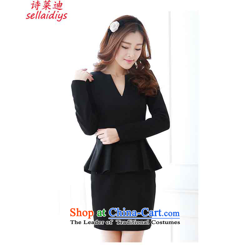 At 2015 Autumn poem new long-sleeved blouses and Sau San billowy flounces, forming the package and dresses dress skirt Black?XL