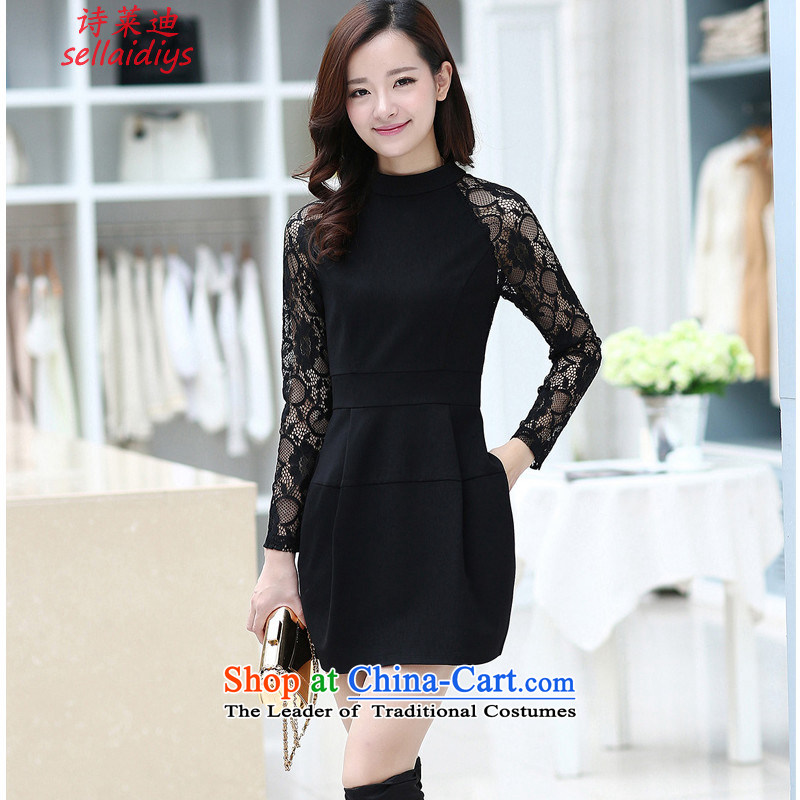 At 2015 Autumn poem new lace long-sleeved botanists dress skirt Foutune of Sau San aristocratic dresses black?XXL